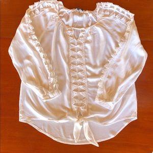 XOXO Lace Cutout White Blouse L Hi-Low Hem